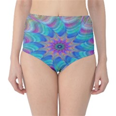Fractal Curve Decor Twist Twirl High Waist Bikini Bottoms