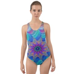 Fractal Curve Decor Twist Twirl Cut Out Back One Piece Swimsuit
