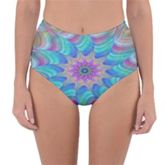 Fractal Curve Decor Twist Twirl Reversible High Waist Bikini Bottoms