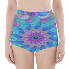 Fractal Curve Decor Twist Twirl High Waisted Bikini Bottoms
