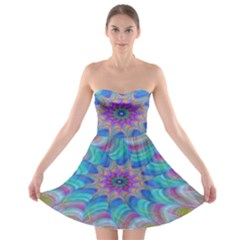 Fractal Curve Decor Twist Twirl Strapless Bra Top Dress