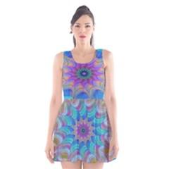 Fractal Curve Decor Twist Twirl Scoop Neck Skater Dress