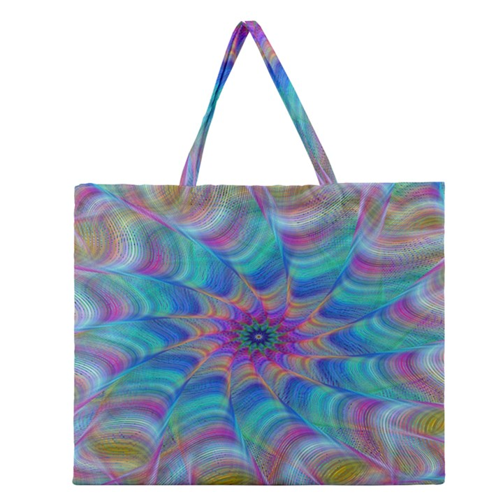 Fractal Curve Decor Twist Twirl Zipper Large Tote Bag