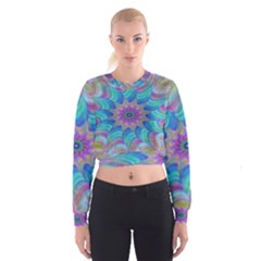 Fractal Curve Decor Twist Twirl Cropped Sweatshirt