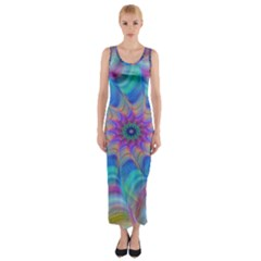 Fractal Curve Decor Twist Twirl Fitted Maxi Dress