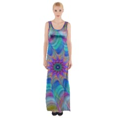 Fractal Curve Decor Twist Twirl Maxi Thigh Split Dress