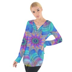 Fractal Curve Decor Twist Twirl Tie Up Tee