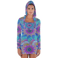 Fractal Curve Decor Twist Twirl Long Sleeve Hooded T Shirt