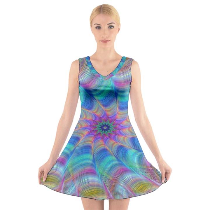 Fractal Curve Decor Twist Twirl V-Neck Sleeveless Skater Dress