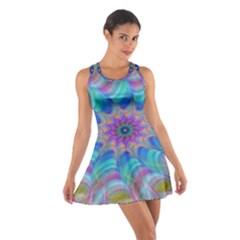 Fractal Curve Decor Twist Twirl Cotton Racerback Dress