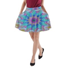 Fractal Curve Decor Twist Twirl A Line Pocket Skirt