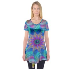 Fractal Curve Decor Twist Twirl Short Sleeve Tunic