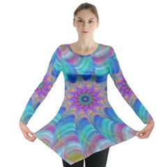 Fractal Curve Decor Twist Twirl Long Sleeve Tunic