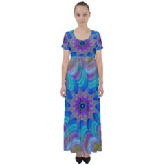 Fractal Curve Decor Twist Twirl High Waist Short Sleeve Maxi Dress