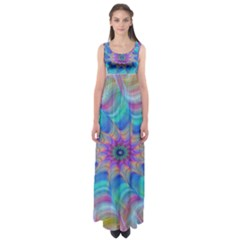 Fractal Curve Decor Twist Twirl Empire Waist Maxi Dress