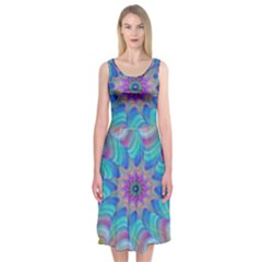 Fractal Curve Decor Twist Twirl Midi Sleeveless Dress