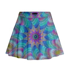 Fractal Curve Decor Twist Twirl Mini Flare Skirt