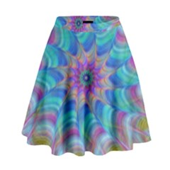 Fractal Curve Decor Twist Twirl High Waist Skirt