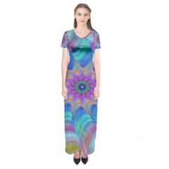 Fractal Curve Decor Twist Twirl Short Sleeve Maxi Dress