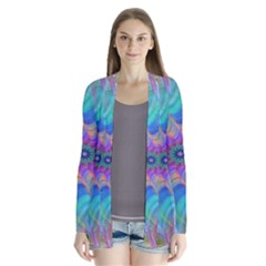 Fractal Curve Decor Twist Twirl Drape Collar Cardigan