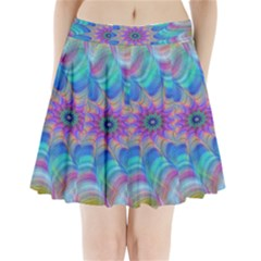 Fractal Curve Decor Twist Twirl Pleated Mini Skirt