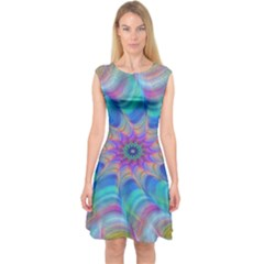 Fractal Curve Decor Twist Twirl Capsleeve Midi Dress