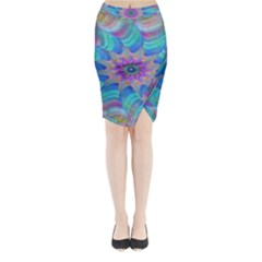 Fractal Curve Decor Twist Twirl Midi Wrap Pencil Skirt