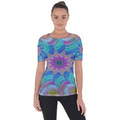 Fractal Curve Decor Twist Twirl Short Sleeve Top