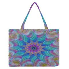 Fractal Curve Decor Twist Twirl Zipper Medium Tote Bag