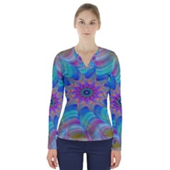 Fractal Curve Decor Twist Twirl V Neck Long Sleeve Top