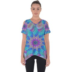 Fractal Curve Decor Twist Twirl Cut Out Side Drop Tee