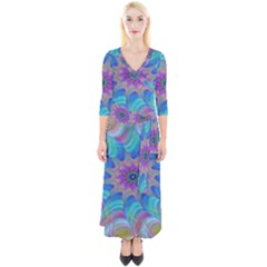 Fractal Curve Decor Twist Twirl Quarter Sleeve Wrap Maxi Dress
