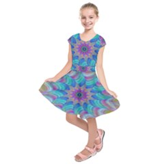 Fractal Curve Decor Twist Twirl Kids  Short Sleeve Dress