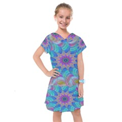 Fractal Curve Decor Twist Twirl Kids  Drop Waist Dress