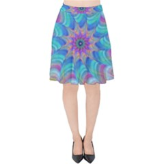 Fractal Curve Decor Twist Twirl Velvet High Waist Skirt