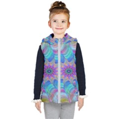 Fractal Curve Decor Twist Twirl Kid s Puffer Vest