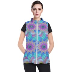 Fractal Curve Decor Twist Twirl Women s Puffer Vest