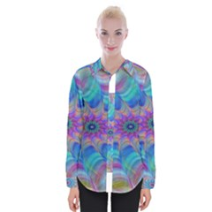 Fractal Curve Decor Twist Twirl Womens Long Sleeve Shirt