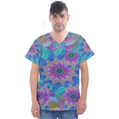 Fractal Curve Decor Twist Twirl Men s V Neck Scrub Top
