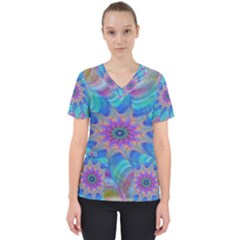 Fractal Curve Decor Twist Twirl Scrub Top