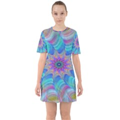 Fractal Curve Decor Twist Twirl Sixties Short Sleeve Mini Dress