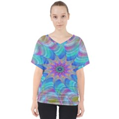 Fractal Curve Decor Twist Twirl V Neck Dolman Drape Top
