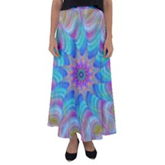 Fractal Curve Decor Twist Twirl Flared Maxi Skirt