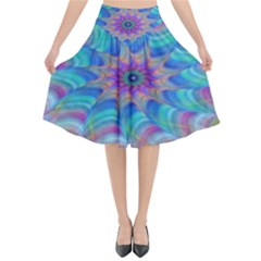 Fractal Curve Decor Twist Twirl Flared Midi Skirt