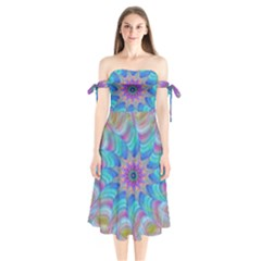 Fractal Curve Decor Twist Twirl Shoulder Tie Bardot Midi Dress