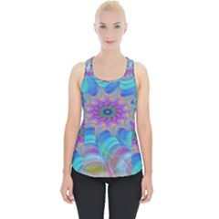 Fractal Curve Decor Twist Twirl Piece Up Tank Top