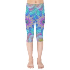 Fractal Curve Decor Twist Twirl Kids  Capri Leggings