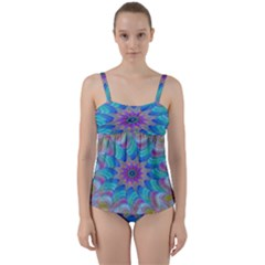 Fractal Curve Decor Twist Twirl Twist Front Tankini Set