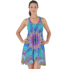 Fractal Curve Decor Twist Twirl Show Some Back Chiffon Dress