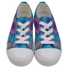 Fractal Curve Decor Twist Twirl Kids  Low Top Canvas Sneakers